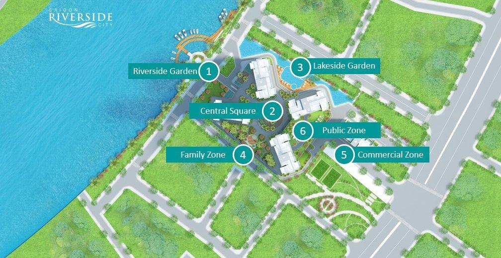 Bố trí các Block căn hộ tại saigon riverside city