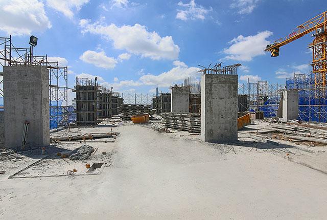 Hoàn thành đổ bê tông cột sàn tầng 24 block Riches